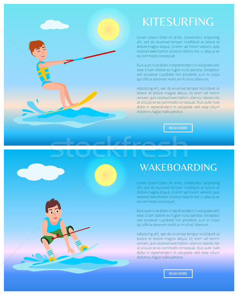 Wakeboarding and Kitesurfing Sports, Color Posters Stock photo © robuart