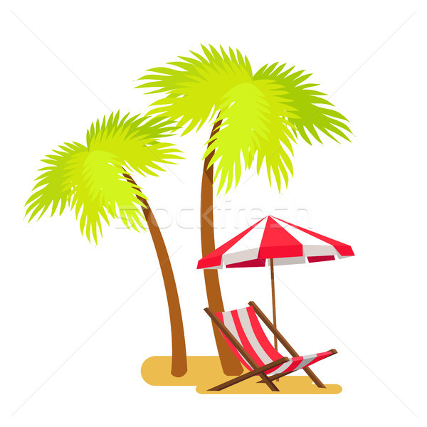 Abstract Summer Beach, Lounger and Palm Trees Stock photo © robuart