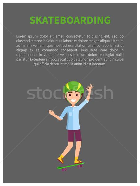 Skateboarding Poster with Smiling Skater Headgear Stock photo © robuart