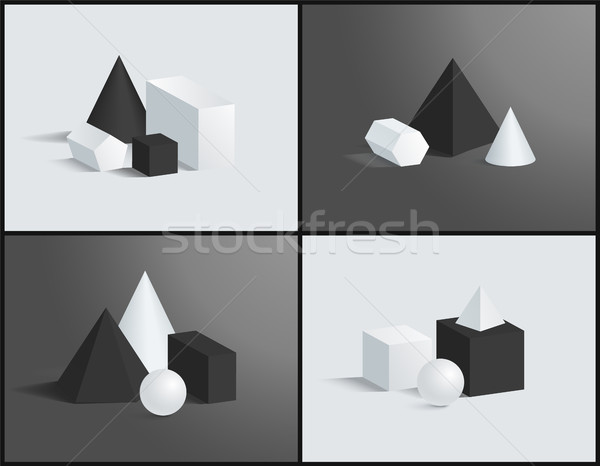 Cube Cone Cuboid Sphere Various Prisms Collection Stock photo © robuart