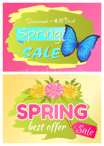 Discount 45 Off Set Posters Bbutterfly and Flower Stock photo © robuart