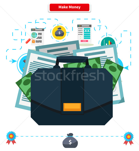 Concept Make money. Briefcase with Income Stock photo © robuart