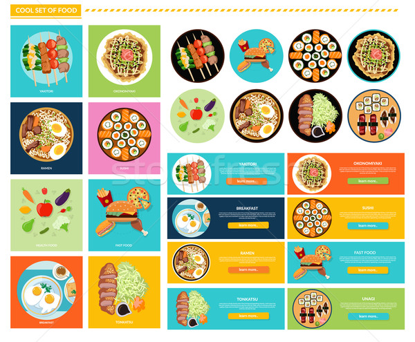 Set of Different Tasty Dishes Flat Stock photo © robuart