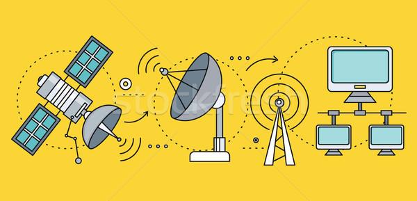 Satelitarnej Internetu globalny sieci technologii bezprzewodowej Zdjęcia stock © robuart