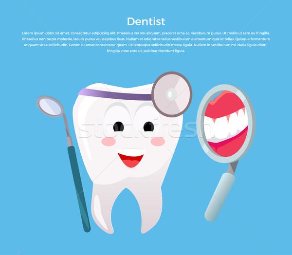 Stomatologia banner plakat cartoon zębów stomatologicznych Zdjęcia stock © robuart