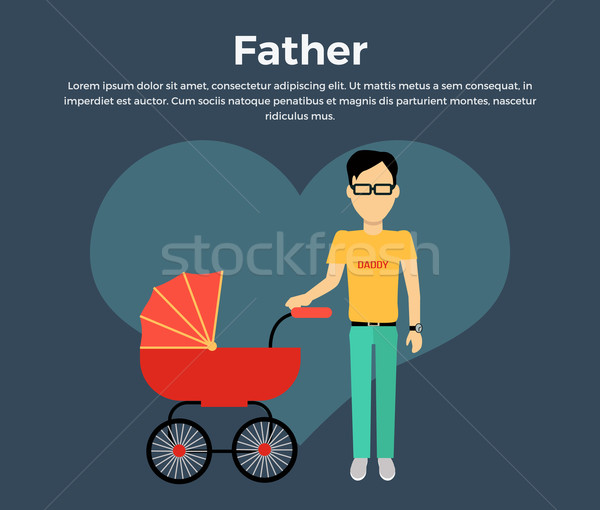 Father with a Baby Carriage Banner Stock photo © robuart