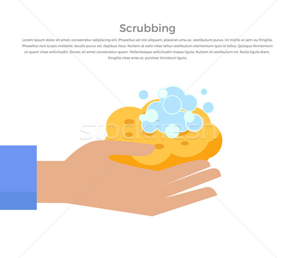 Scrubbing Hand with Soap and Wisp Design Banner Stock photo © robuart