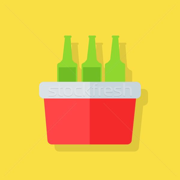 Tengerpart mélyhűtő táska terv ikon piknik Stock fotó © robuart