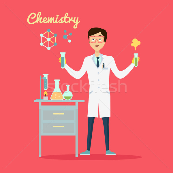Stock photo: Chemistry Banner Concept Flat Style