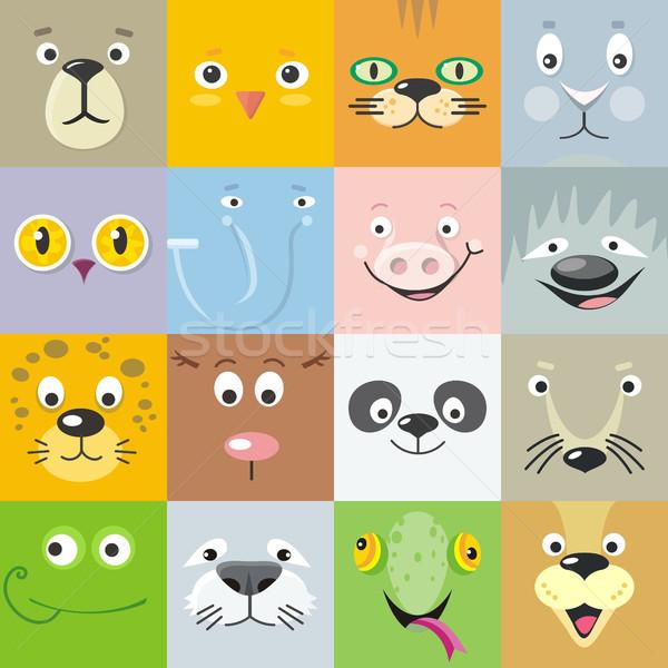 Set of Animal Faces Flat Style Vector Illustration Stock photo © robuart