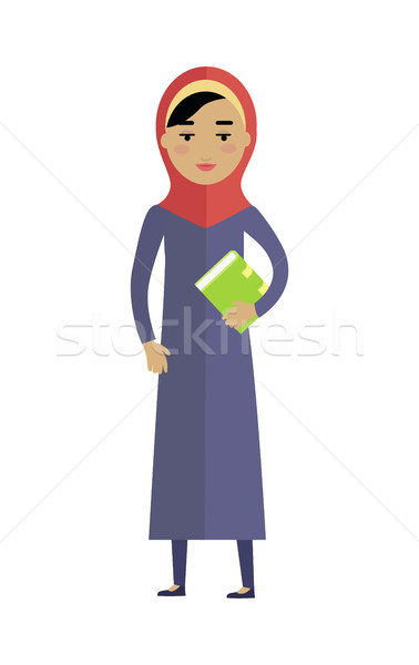 Young Arabian Woman with Book Isolated on White Stock photo © robuart
