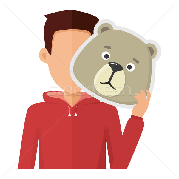 Man with Bear Mask Flat Design Vector Illustration Stock photo © robuart