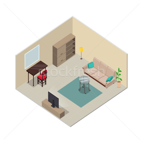 Isometric Interior Design. Living Room Furniture. Stock photo © robuart