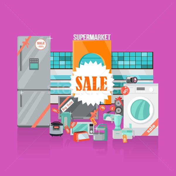 áruház vásár háztartás készülékek stílus szalag Stock fotó © robuart