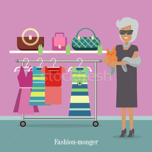 Fashion Monger Lady in Luxury Shop. Rich Woman Stock photo © robuart