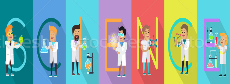 Science Conceptual Vector Banner. Human Characters Stock photo © robuart