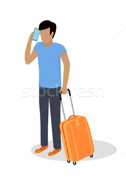 Viaggiatore carattere isometrica vector icon icona uomo Foto d'archivio © robuart