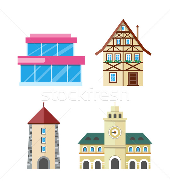 Historic and Modern Buildings Flat Vectors Set Stock photo © robuart