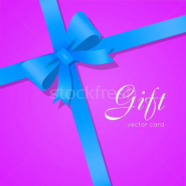 Gift. Blue Wide Ribbon. Bright Bow with Two Petals Stock photo © robuart