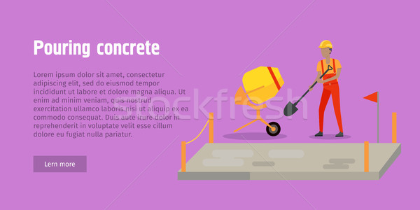 Pouring Concrete Web Banner. Modern Building. Stock photo © robuart