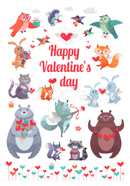 Happy Valentine's Day. Greeting Card with Animals Stock photo © robuart