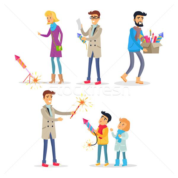Dorośli dzieci jasne fajerwerków kolorowy Zdjęcia stock © robuart