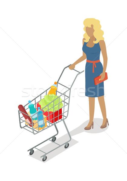 женщину корзины покупке ежедневно продукции вектора Сток-фото © robuart