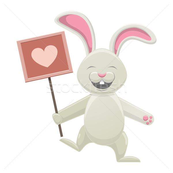 Mosolyog fehér nyuszi tart poszter szív Stock fotó © robuart
