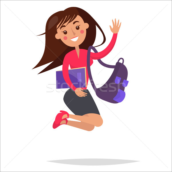 Jumping Girl Student with Backpack and Notebook Stock photo © robuart