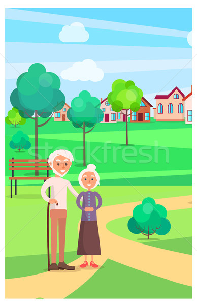 Senior Couple Standing on Path at Park in Summer Stock photo © robuart