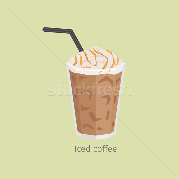 Glass of Iced Coffee with Syrup Flat Vector Stock photo © robuart