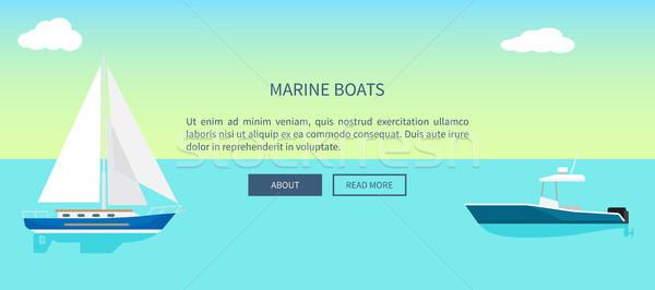 Marinos barcos web banner texto yate Foto stock © robuart