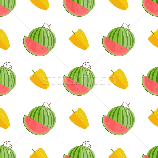 Seamless Pattern with Yellow Pepper and Watermelon Stock photo © robuart