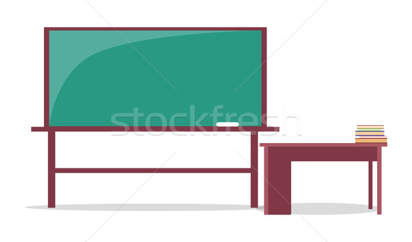 Blackboard with Piece of Chalk and Teachers Table Stock photo © robuart