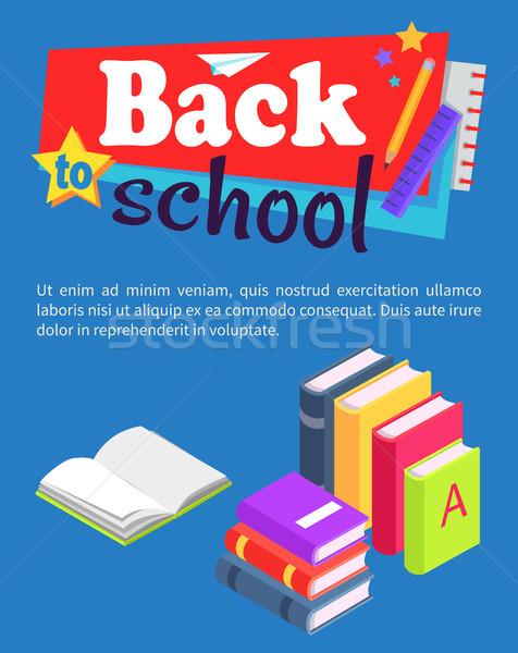 Снова в школу плакат книгах Постоянный Сток-фото © robuart