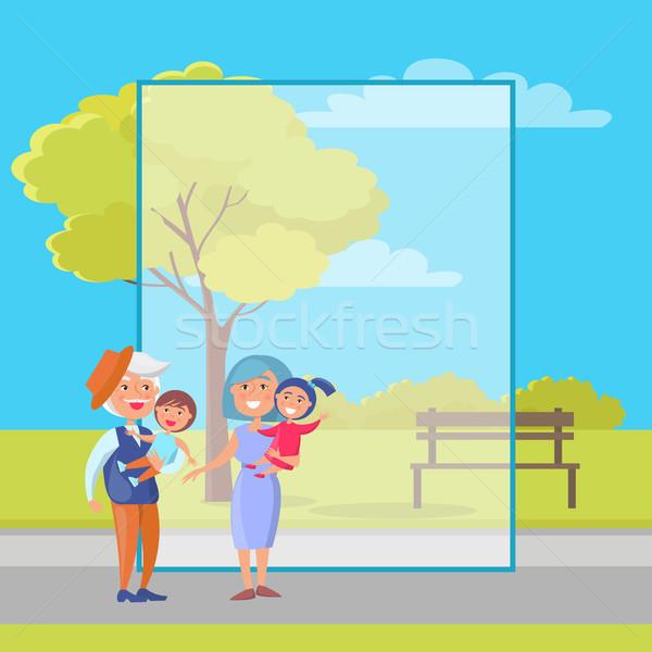 Szczęśliwy dziadkowie dzień starszy para dzieci plakat Zdjęcia stock © robuart
