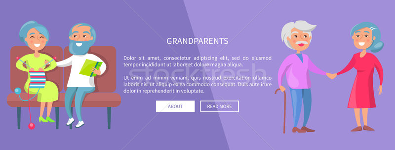 Grandparents Poster with Senior Lady and Gentleman Stock photo © robuart