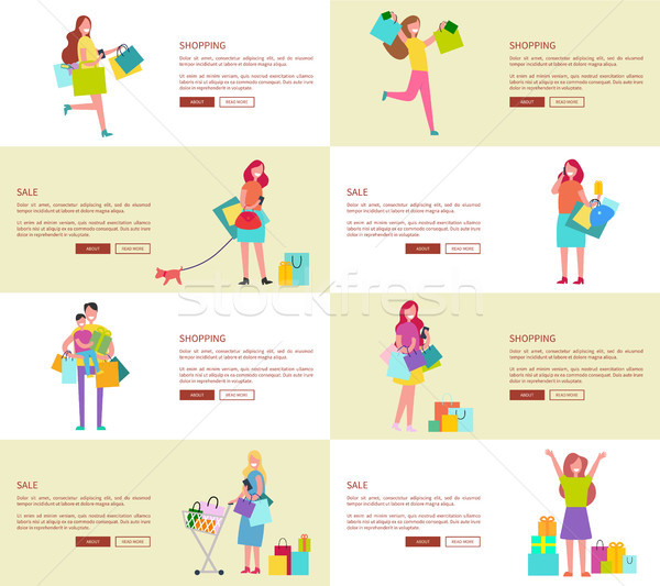 Eight Pics of Shopping People Vector Illustration Stock photo © robuart
