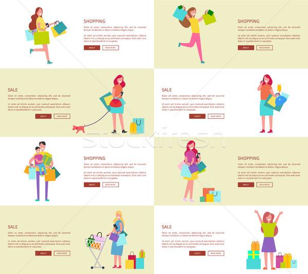 Nyolc vásárlás emberek dedikált nők család Stock fotó © robuart