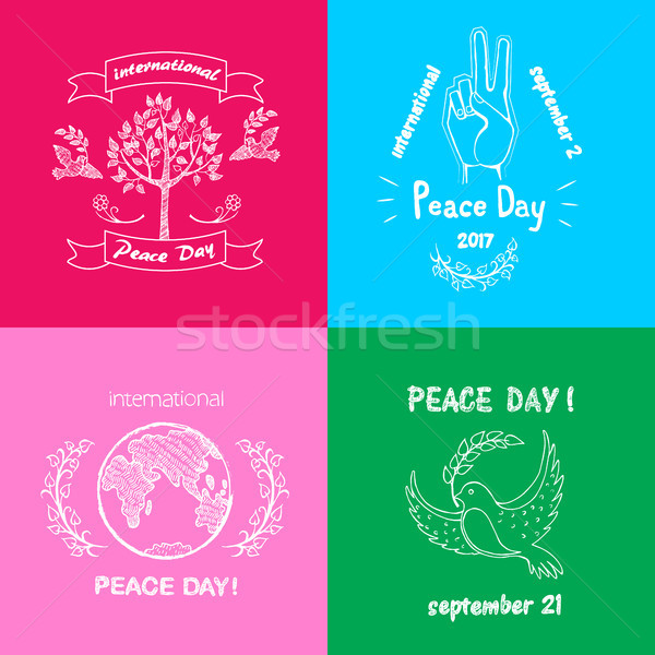 Bright Posters for International Peace Day Text Stock photo © robuart
