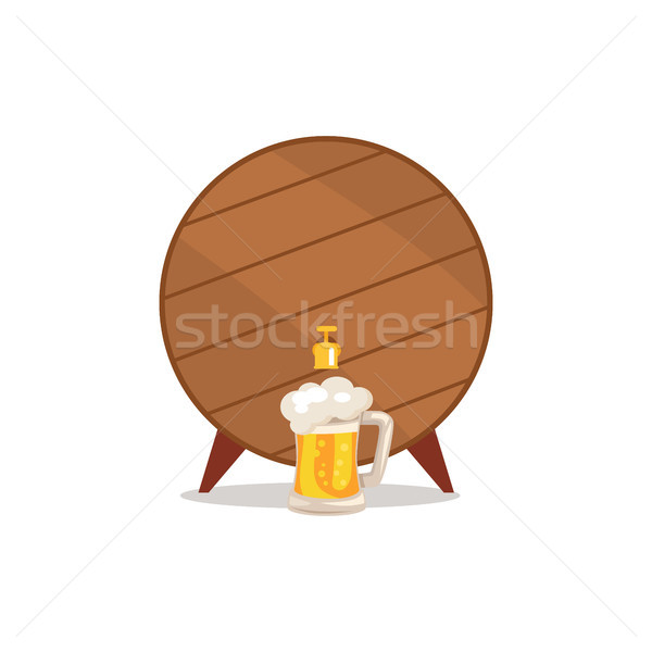 Wooden Barrel with Tap and Mug of Beer Vector Stock photo © robuart