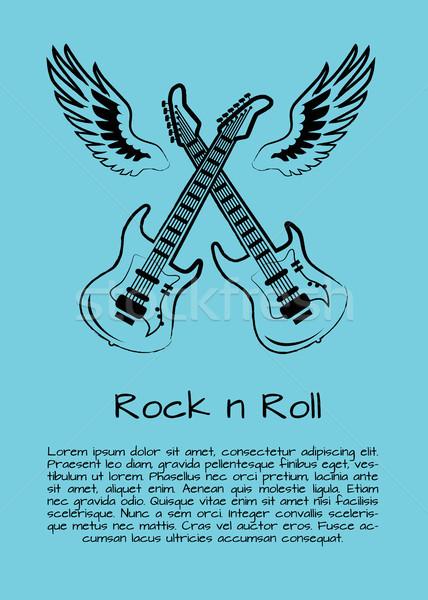 Rock rollen muziek poster twee reus Stockfoto © robuart