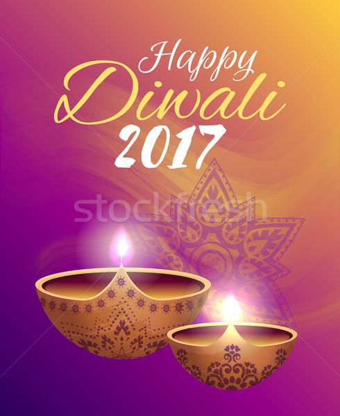 Gelukkig diwali festival lichten felicitatie verlicht Stockfoto © robuart