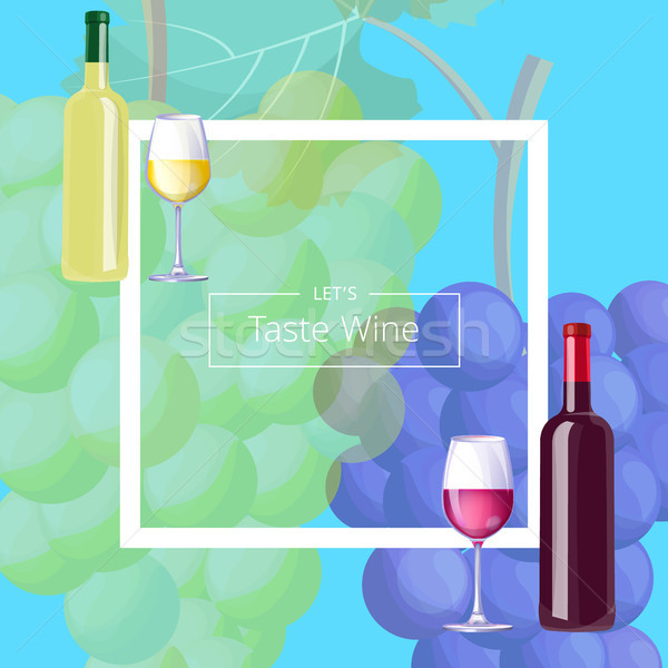 Let s Taste Vine Postcard Vector Illustration Stock photo © robuart