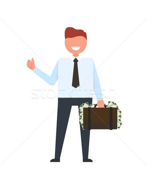 Lächelnd Geschäftsmann Geld Anzug Krawatte halten Stock foto © robuart