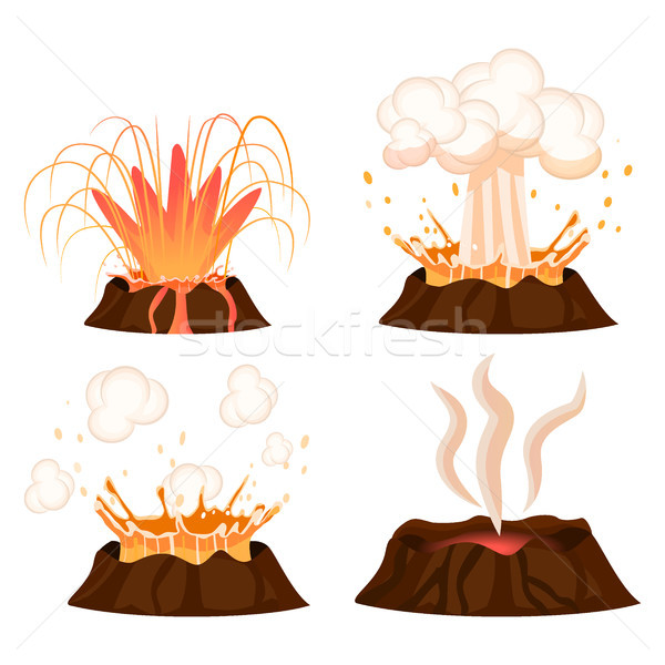 Volcanic Eruption Stages Illustrations Collection Stock photo © robuart