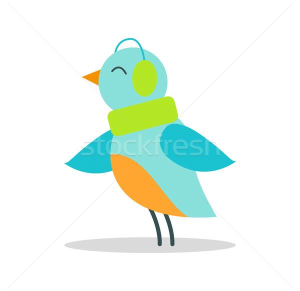 Kuş mavi tüyler sıcak dinlemek müzik Stok fotoğraf © robuart