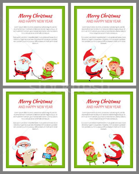 Allegro Natale buon anno set carte testo Foto d'archivio © robuart