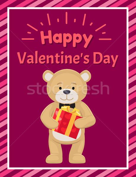 Happy Valentines Day Poster Teddy Toy Black Tie Stock photo © robuart