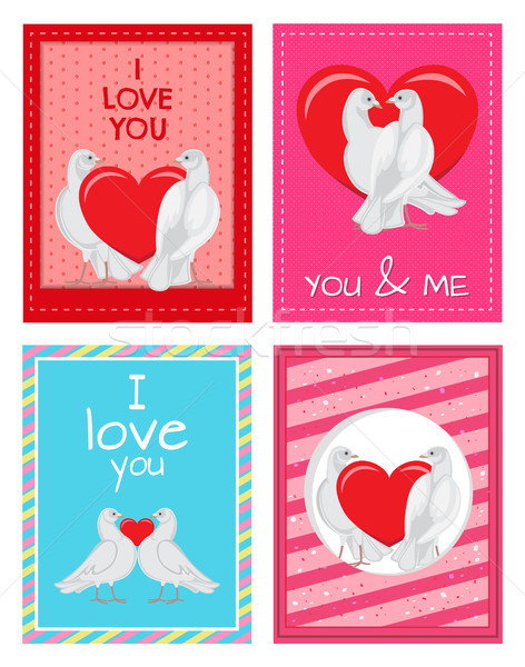 Blanche couples coeur illustrations Photo stock © robuart